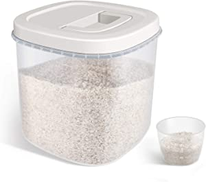 TBMax Rice Storage Container - 10 Lbs Airtight Cereal Container Bin with Measuring Cup - Food Container Dispenser for Rice Flour Cereal Kitchen Storage