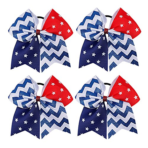 Subesty 4th Of July Cheer Bow Baby Girls Boutique Patriotic Glitter Bows Ponytail Holder Elastic Hair Ties Set Of 4 (Holder Patriotic)