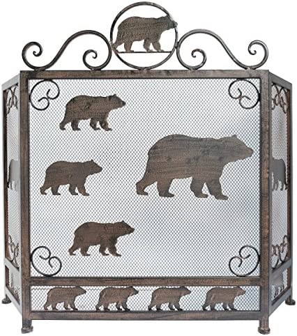 LL Home Metal Heavy Bear FIRE Screen Home Decor
