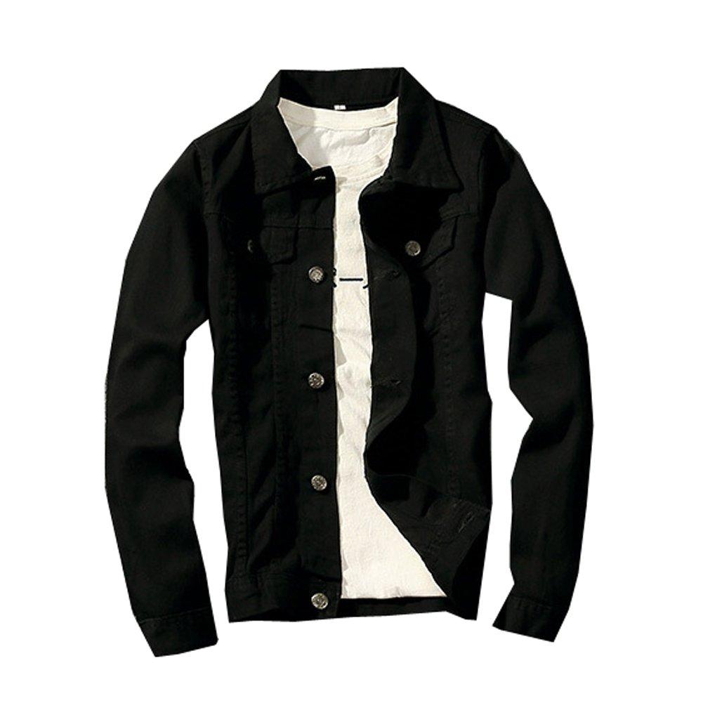 LifeHe 2017 Denim Jacket Men Slim Fit Fashion Jeans Coat (Medium, Black)
