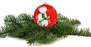 YQ Christmas Ornament Balls for Xmas Tree, DIY Glass Christmas Ball,Snowman Tree Ball with Hanging Loop, Hand Painting Xmas Tree Glass Ball Decorations for Christmas Holiday Wedding Party Home Décor