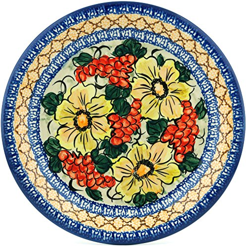 - Polish Pottery 10-inch Lunch Plate (Colorful Bouquet Theme) Signature UNIKAT + Certificate of Authenticity