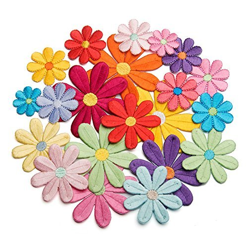 (20pcs Randomly Sunflower Iron On Appliques(10pcs5cm(Large)+10pcs3.5cm(Small))