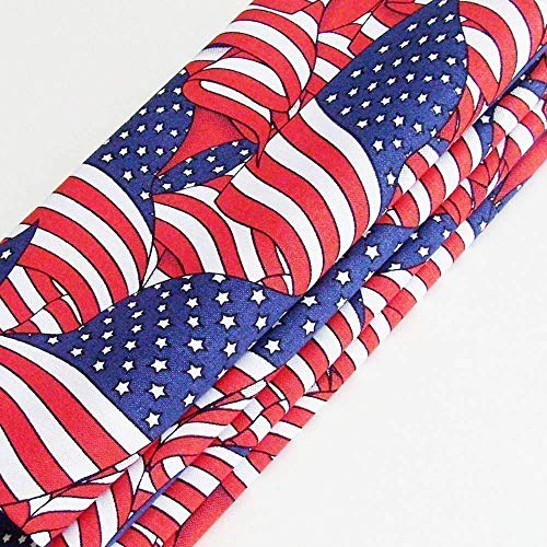 Waving American Flags Cotton Napkins (Set of 4) ME2Designs Handmade Table Decor