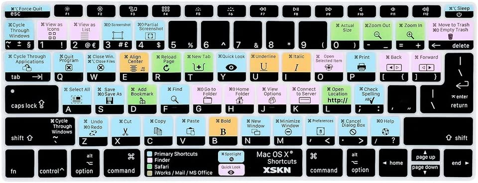 XSKN Shortcut MAC OS X Keyboard Skin Cover is Compatible with Both of MacBook 12 Model A1534 and New MacBook Pro 13 Model A1708 Released Since 2016 no Touch Bar (US&EU Common Version)