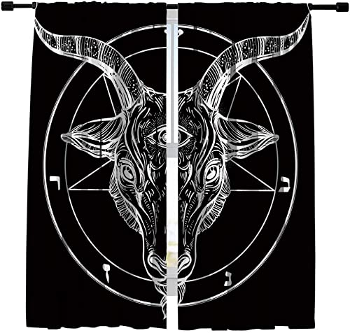 Misscc Room Darkening Window Panels Blackout Curtains,Satanic Goat Head Pattern Window Treatments Draperies,Bedroom Living Room Kitchen Cafe Window Curtains 2 Panels Set