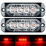 WEISIJI LED Strobe Light,2Pcs Universal Super Thin 4-LEDs Red 18-Flashing Modes Car Truck Warning Caution Emergency Construction Work Light Bar Grille Lights(4leds 2pcs red)