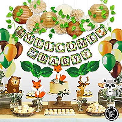 Sweet Baby Co Woodland Animals Baby Shower Decorations Neutral