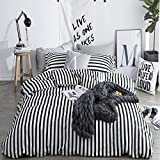 CLOTHKNOW Ticking Stripe Bedding Sets Twin Size Duvet Cover Sets White and Black Striped for Boys Girls Kids Room Bedding 100 Cotton 3 Pieces Reversible - 1 Duvet Cover Zipper Closure 2 Pillow Shams