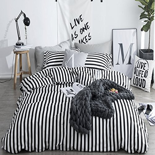 Stripe Twin Bedding - CLOTHKNOW Ticking Stripe Bedding Sets Twin Size Duvet Cover Sets White and Black Striped for Boys Girls Kids Room Bedding 100 Cotton 3 Pieces Reversible - 1 Duvet Cover Zipper Closure 2 Pillow Shams