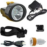 Linterna LED resistente al agua, luz de cabeza portátil con batería de 2800 mAh y 15 horas de iluminación, lámpara de minero recargable para casco de seguridad del carbón, sombrero duro, senderismo, caza, pesca, camping, al aire última intervensión