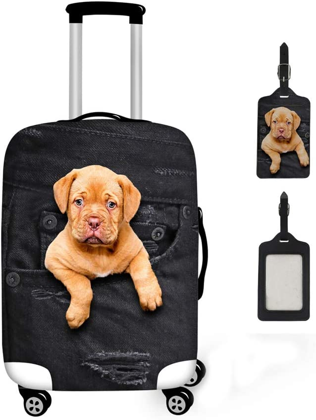 Washable Travel Luggage Cover Elastic Suitcase Trolley Protector Cover for 22-24 inch Luggage Pug Dog Pattern