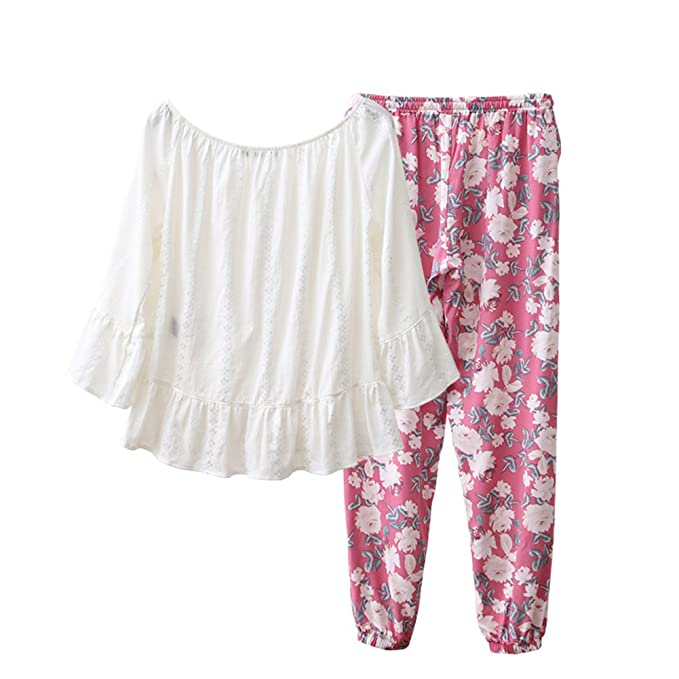 Sexy Pijamas Dulces Lovely Moda Impresión Señora Pijama Juego Del Desgaste De Ocio-A L