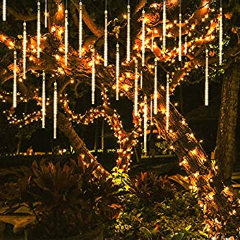 OMGAI Waterproof Meteor Shower Rain Lights 30cm 8 Tubes Drop Icicle Snow Falling Raindrop Cascading Lights for Wedding Party Christmas Shine WarmWhite