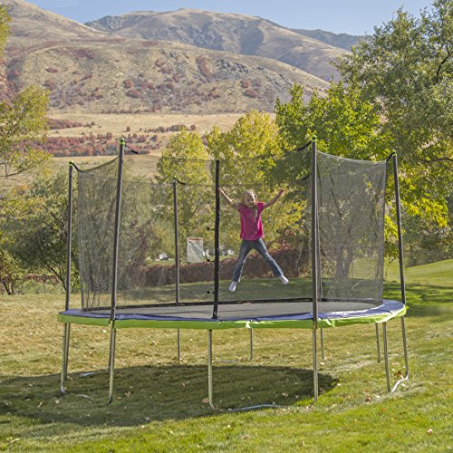 61OqU6i7 iL - ActivPlay 14' Round Trampoline & Enclosure, Blue/Green