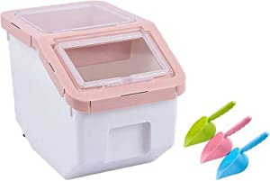 Saim Pet Dog Cat Food Bin with Locking Lid, Airtight Food Storage Container,Dry Food Dispenser Storage Tank with Measuring Cup, Scoop & Wheels,11-14lb Capacity - Pink, Small