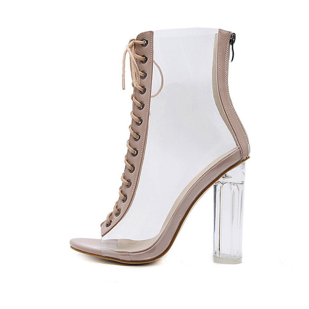 3ffead3c3ca0 Amazon.com  Nevera Womens Open Toe Lace Up Open Toe High Heel Sandals  Transparent Bandage Ankle Boots Black  Clothing