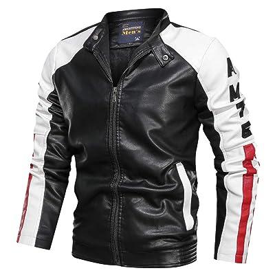 Men's Long Sleeve Leather Jacket Males Zipper Pockets Slim Fit Stand Collar Vintage Coat Tops Outwear: Garden & Outdoor