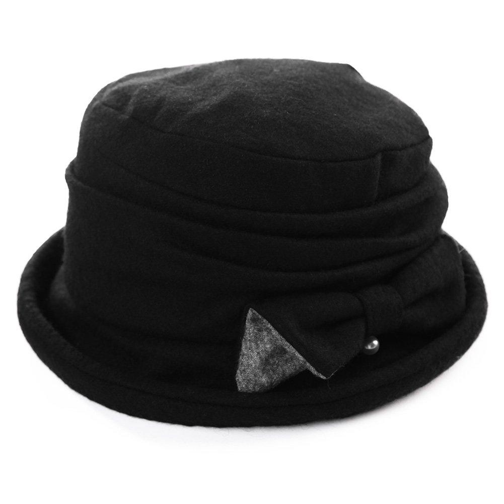 SIGGI Wool Cloche Hat Women Winter Hat Black Ladies 1920s Vintage Derby Church Bowler Bucket Hat Crushable