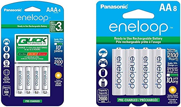 Panasonic Advanced Individual Battery 3 Hour Quick Charger with 4 AAA eneloop Rechargeable Batteries, White & BK-3MCCA8BA eneloop AA 2100 Cycle Ni-MH ...