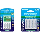 Panasonic Advanced Individual Battery 3 Hour Quick Charger with 4 AAA eneloop Rechargeable Batteries, White & BK…