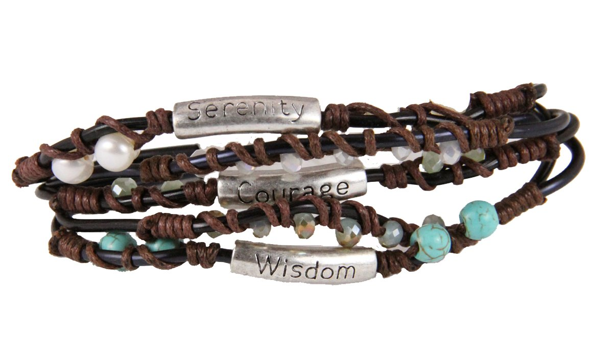 4030330 Serenity Prayer Wrap Cord Beaded Bracelet AA 12 Step One Day At A Time