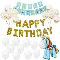 Sodee globos de cumpleaños, Kit de Decoración De Fiesta De Cumpleaños, Globos de Feliz Cumpleaños Banner Mylar Foil Letters + Cartel de Feliz Cumpleaños + Globos de Látex con Confeti + Globo de Unicornio 3d (Dorado)