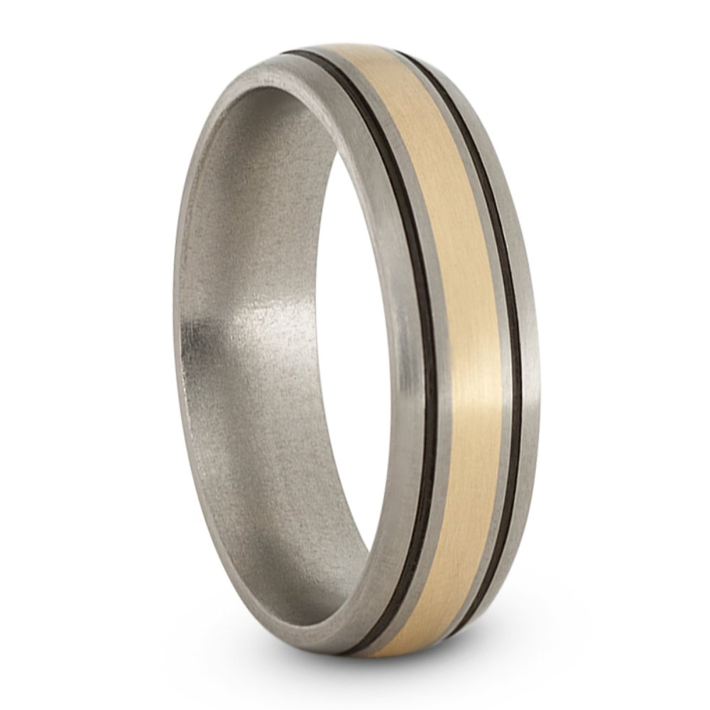 Satin Brushed Titanium, 14k Yellow Gold and Black Pinstripes 6mm Comfort-Fit Dome Wedding Band, Size 9.5