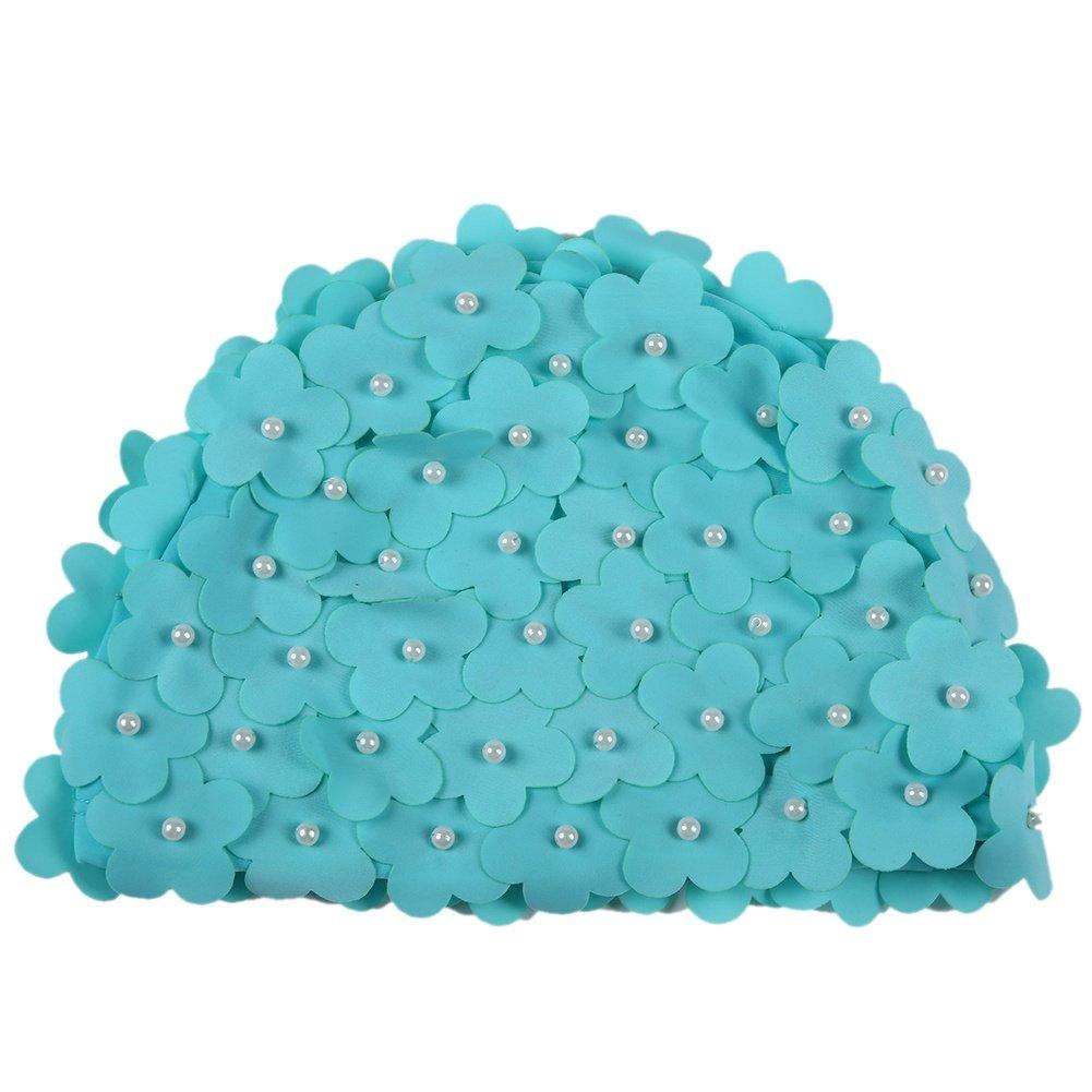 Doubleer Frau Schwimmender Hut Deckel Pool schwimmen Hut Künstliche Perle Blütenblätter Badekappe