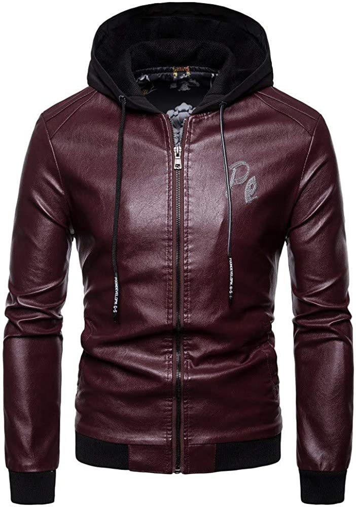 OSTELY Mens Jacket Autumn Winter Personality Motorcycle Leather Pocket Zipper Hooded Casual Slim Fit Sweatshirt Coat Tops