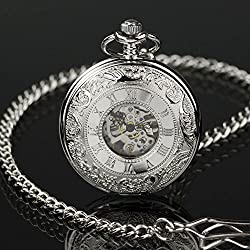 Classic Engraved Skeleton Mechanical Windup Vintage Silver Man Mens Pocket Watch