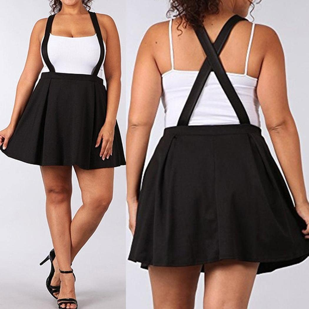 FUNIC Womens Black Plus Size Loose Strap Solid Color Short Mini Skirt
