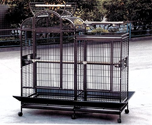 """A&E Cage PC-6928D Black Split Level House Bird Cage with Divider, 69"""" x 28"""""""