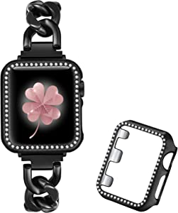 Dilando Cool Chain Metal Link Bands Black Compatible with Apple Watch 38mm 40mm 42mm 44mm Women with Bling Case, Stainless Steel Band with Bling Case for Iwatch SE series 6 5 4 3 2 1 (Black, 40mm)