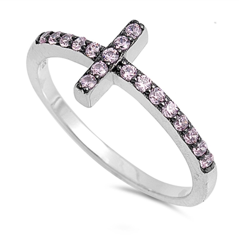 CloseoutWarehouse Pink Cubic Zirconia Reing Sterling Silver Sideway Cross Ring Sterling Silver Size 4