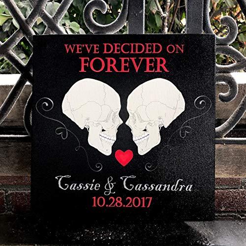 We've Decided On Forever, Custom Canvas, Candy Skull Themed Wedding, Til Death Do Us Part, Wedding/Anniversary Gift, Halloween Wedding