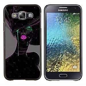 YiPhone /// Prima de resorte delgada de la cubierta del caso de Shell Armor - Mujer labios verdes Moda Rosa - Samsung Galaxy E5 E500
