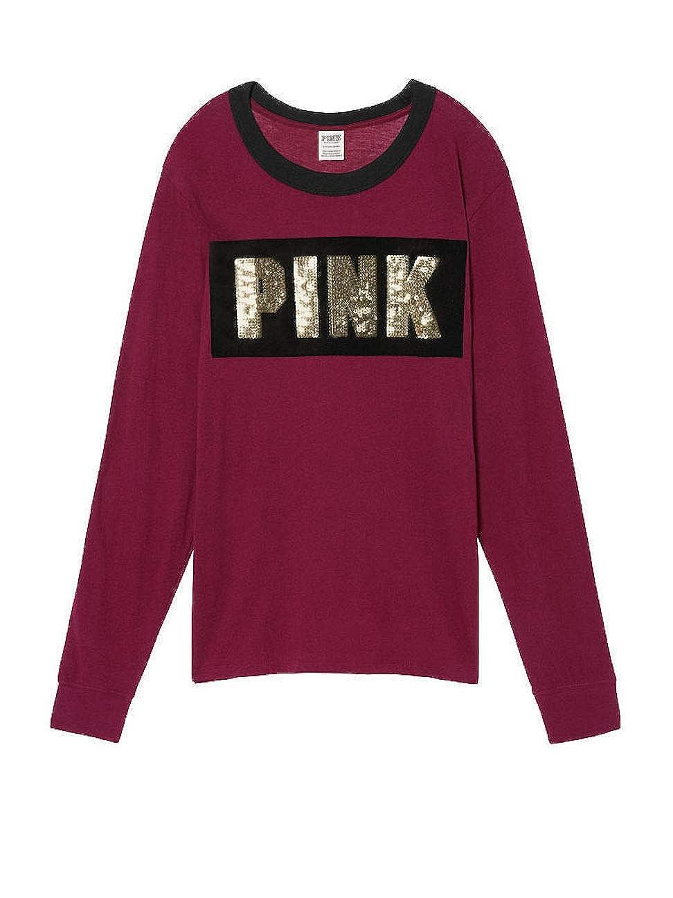 Victorias Secret Pink Bling Campus Long Sleeve Pocket T-Shirt Medium Black Orchid