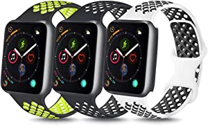 YILED [Pack 3] Bands Compatible with Apple Watch Band 38mm 40mm 42mm 44mm, Soft Silicone Replacement Band for iWatch Series 6 5 4 3 2 1 SE (Black volt/Black/White Black, 42mm/44mm M/L)