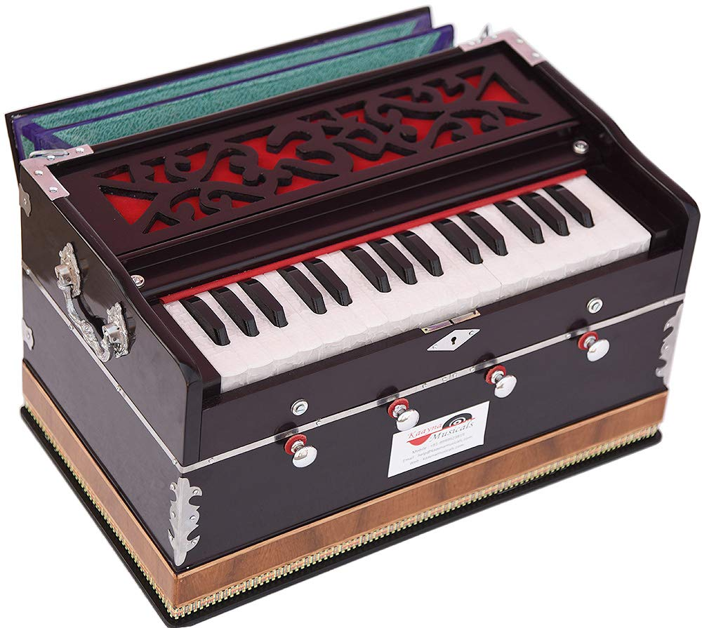 OM Harmonium Mini Magic By Kaayna Musicals, 4 Stop- 2 Main & 2 Drone, 2¾ Octave, Dark Cherry Colour, Gig Bag, Bass/Male- 440 Hz, Best for Yoga, Bhajan, Kirtan, Shruti, Mantra, Meditation, Chant, etc. by Kaayna Musicals (Image #1)