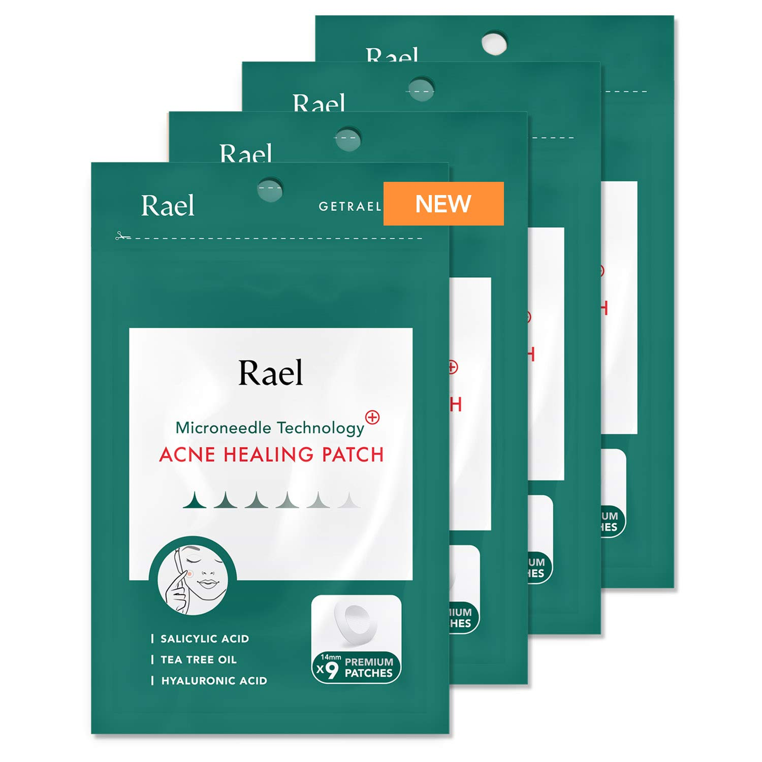 Rael Microneedle Acne Healing Patch - Pimple Acne Spot Tea Tree Treatment (4Pack, 36 Patches)
