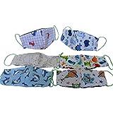 Dalay-Cubrebocas de Niño, edades 2,3,4,5, y 6 años, paquete de 6 piezas, en tela popelina algodon, reversible, lavable…