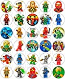 30 x Edible Cupcake Toppers – NinjaGo Themed Collection of Edible Cake Decorations | Uncut Edible Prints on Wafer Sheet
