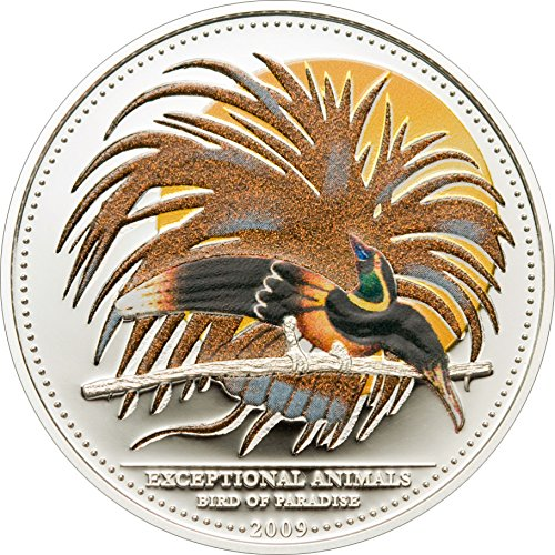- 2009 PW Cma Color PowerCoin BIRD OF PARADISE CMA Exceptional Animals Silver Coin 5$ Palau 2009 Proof