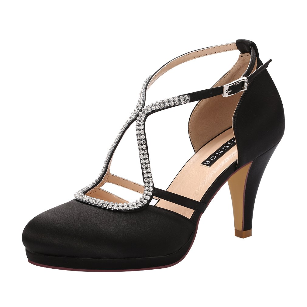 ERIJUNOR E0260D Women Comfort Low Heel Closed-Toe Ankle Strap Platform Satin Bridal Wedding Shoes Black Size 8
