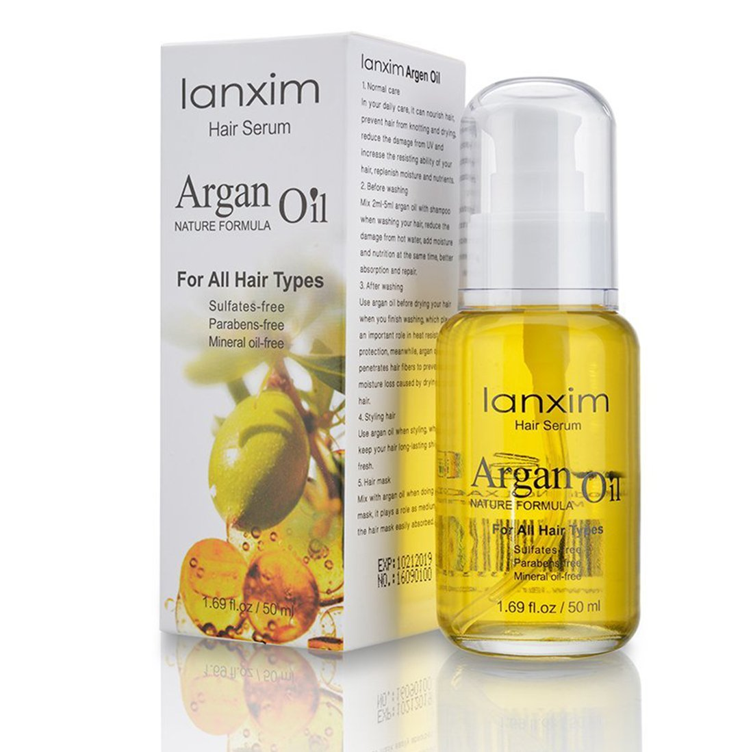 Lanxim Moroccan Argan Oil 100% Natural Organic Beauty Argan Oil,Stimulate Growth for Dry and Damaged Hair. Natural Beauty Product for Frizzy Hair.The Anti Aging, Anti Wrinkle Beauty Secret,1.69 oz