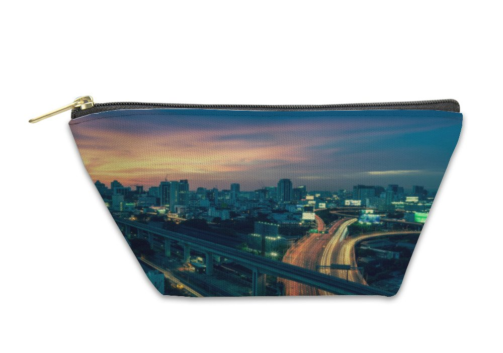 Gear New Accessory Zipper Pouch, Business Building Bangkok City Area At Night Life With Transport, Small, 5875885GN