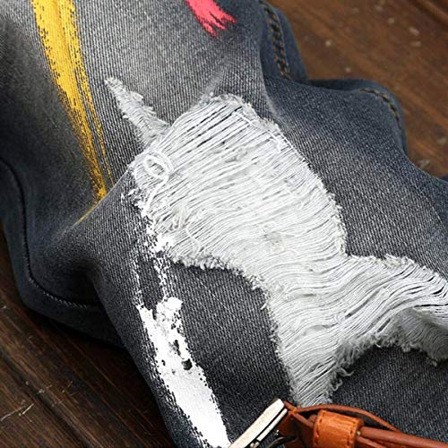 A Vita Jeans Denimless Nostalgici Blackgrey Strappati Giovane Vernice Media Da Pantaloni Uomo Casual Dritta X0wqTxp1C