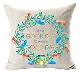 Dick Sidney European Pastoral Colorful Flower Wreath Sweet Funny Inspirational Sayings It's A Good Day To Have A Good Day Cotton Linen Throw Pillow Case Cushion Cover NEW Home Decorative Square