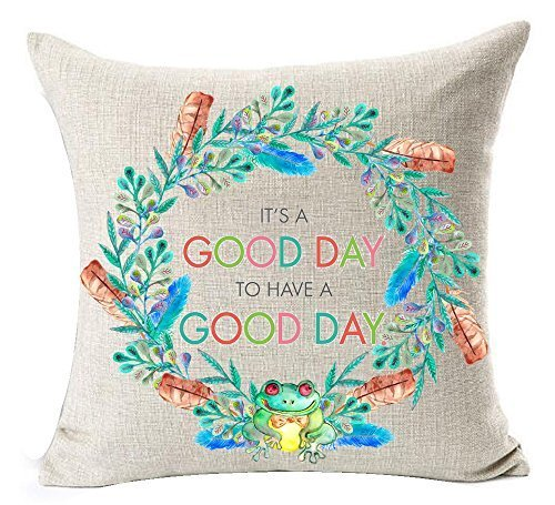 Dick Sidney European Pastoral Colorful Flower Wreath Sweet Funny Inspirational Sayings It's A Good Day To Have A Good Day Cotton Linen Throw Pillow Case Cushion Cover NEW Home Decorative Square by Dick Sidney